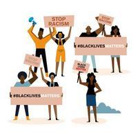 svarta liv betyder demonstration med människor vektor