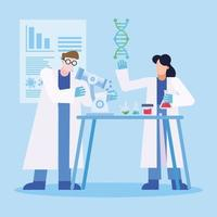 Forschungsdesign für Coronavirus-Impfstoffe mit Chemikern vektor