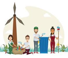 Gruppe von Umweltschützern, die Charaktere recyceln