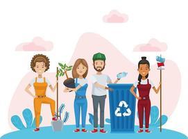 Gruppe von Umweltschützern, die Charaktere recyceln und pflanzen vektor