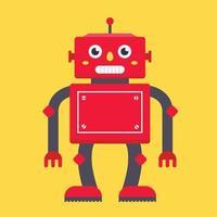 röd retro robot på en gul bakgrund. karaktär vektor illustration