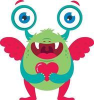 süßes grünes Monster mit einem Herzen in seinen Händen, das auf einen geliebten Menschen wartet. Vektorillustration eines Charakters in vollem Wachstum. st. Valentinstag. vektor