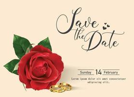 fröhlichen Valentinstag. Grußkarte mit realistischer roter Rose, Typografieentwurf für Druckkarten, Fahne, Plakat. vektor