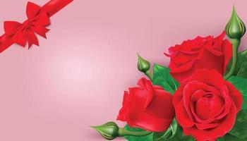 fröhlichen Valentinstag. Grußkarte mit realistischer roter Rose auf rosa Hintergrund, Entwurf für Druckkarten, Fahne, Plakat. vektor