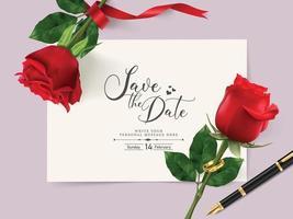 Hochzeitseinladungskartenschablone mit schöner roter Rose und Paarring. Vektor und Illustration.
