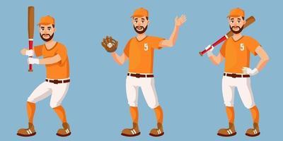 basebollspelare i olika poser. vektor
