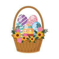 Eier im Korb mit Blumen Ostern Dekoration gemalt vektor