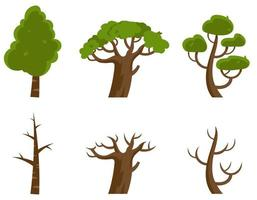 kahle Bäume und Bäume mit Blättern. vektor