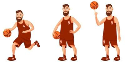 Basketballspieler in verschiedenen Posen. vektor