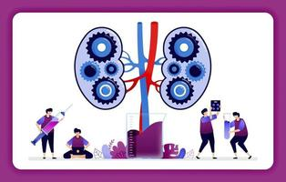 designillustration för njursjukdom och behandling. mekanismer i njuren för laboratorieforskning och utbildning. design kan användas för webbplats, webb, målsida, banner, mobilappar, ui ux, affisch vektor