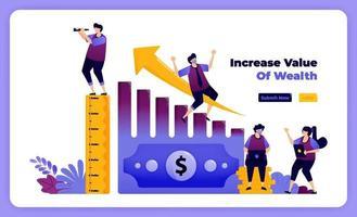 Steigern Sie den Wert von Wohlstand und persönlichem finanziellem Eigentum im Geschäft. Vektor-Illustration für Landing Page, Banner, Website, Web, Poster, mobile Apps, UI UX, Homepage, Social Media, Flyer, Broschüre vektor