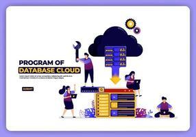 Vektorillustration des Programms der Datenbankwolke. Hosting- und Speichersystem. Entwickelt für Zielseite, Banner, Website, Web, Poster, mobile Apps, Homepage, soziale Medien, Flyer, Broschüre, UIux