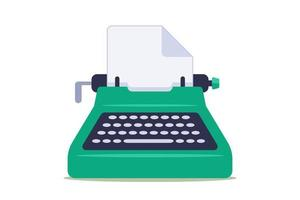 grön skrivmaskin med tomt pappersark på vit bakgrund. platt vektorillustration. vektor