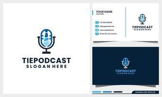 Mikrofon-Podcast mit Krawattenlogo-Konzept und Visitenkartenvorlage vektor