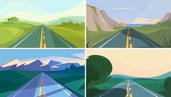 samling av vägar som går in i horisonten vektor