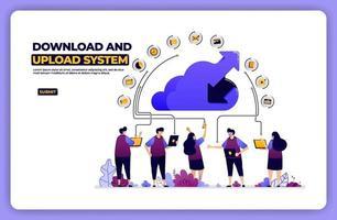 Banner Illustration des Download- und Upload-Systems. Cloud-Netzwerkfreigabeaktivität. Entwickelt für Zielseite, Banner, Website, Web, Poster, mobile Apps, Homepage, soziale Medien, Flyer, Broschüre, UIux