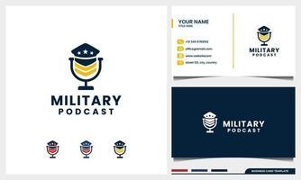 Mikrofon-Podcast mit militärischem Logo-Konzept und Visitenkartenvorlage vektor