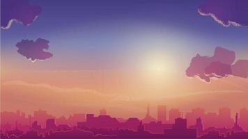 orange solnedgång och stad i horisonten, stadsbild i tecknad stil vektor