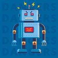 platt bild av en ond mördare robot. han är väldigt arg. karaktär vektor illustration