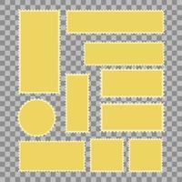 leere Briefmarken Rahmen, gezahnte Grenze Mailing Postaufkleber Vorlage Vektor-Illustration, isoliert Gold dunkel vektor