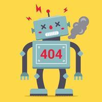 en söt robot står hög. det är trasigt och röker. fel 404 för webbplatsen. vektor illustration av en karaktär.