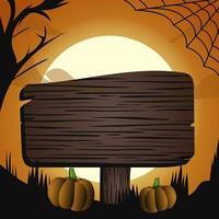 halloween mörk tre måne ljus vektorillustration, banner flyer koncept squere, glad semester mörk pumpor bakgrund, trä bord text mall design belysning vektor