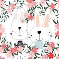 niedliches Kaninchenhasenpaar im nahtlosen Muster des Blumengartens vektor