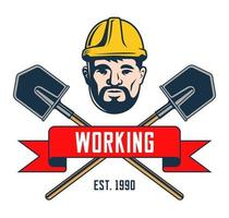 retro emblem av en gruvarbetare i en hjälm. skulderblad med hårkors silhuett på vit bakgrund. vektor illustration