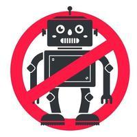 förbjuda robotar. tecknet korsar framtiden. rädsla för vetenskap. platt vektor ikon