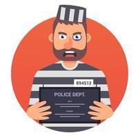 Der gefangene Verbrecher hält ein Schild mit dem Namen für ein Ausweisfoto in der Hand. Zeichenvektorillustration. vektor