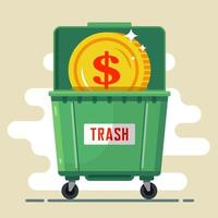 Münzdollar im Müllcontainer. Währungsausfall. Krise im Land. flache Vektorillustration vektor