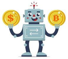 Austausch der virtuellen Währung gegen echtes Geld. Automatisierung von Internetdiensten. Robotertauscher. flache Zeichenvektorillustration. goldene Münzen. vektor
