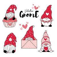 söt kärlek gnome röd valentine med hjärta tecknad ritning clip art element samling, valentine gnome vektor