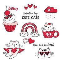 söt katt röd alla hjärtans dag tecknad vektor samling, alla hjärtans clipart set, doodle katt ritning i rött