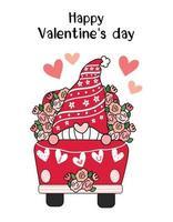 Alla hjärtans gnome i röd blomma lastbil med hjärta jag älskar dig flagga, söt tecknad platt vektor ClipArt-idé för alla hjärtans kort, utskrivbara saker