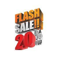 Flash Sale 20 aus 3D-Design vektor