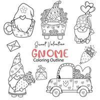 söt valentine gnome färgning dispositionssamling, söt valentine digital stämpel set, gnome tecknad doodle ritning set vektor