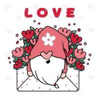 niedlicher glücklicher Gnom-Valentinstag im Blumenliebesumschlag, glücklicher Valentinstag-Karikaturvektor vektor