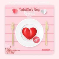 Vorlage für Lebensmittel-Bannerwerbung. Valentinstag Social Media Post.