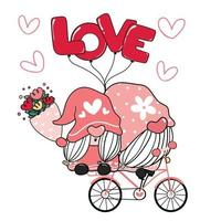 två valentine romantiska gnome par på rosa kärlek cykel ClipArt, glad kärlek tecknad vektor