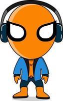 Held in orange und blauem Kostüm mit Kopfhörern