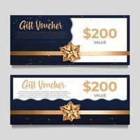 Geschenkgutscheinvorlage mit goldenem Stil vektor