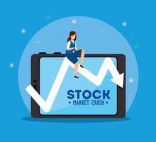aktiemarknadskrasch med affärskvinna och surfplatta