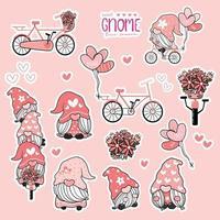 söt valentin gnome söt rosa kärlek insamling, gnome på cykel klistermärke utskrivbar uppsättning. vektor