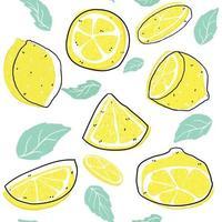 ljus skivad citron och blad med linje mönster sömlös bakgrund, sommar bakgrund vektor