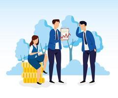 aktiemarknadskrasch med affärsmän och ikoner