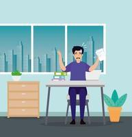 Mann am Arbeitsplatz gestresst vektor