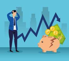 Börsencrash mit Geschäftsmann und Geld