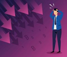 Börsencrash mit Geschäftsmann besorgt und Pfeile nach unten