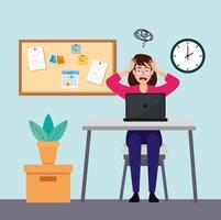 Frau am Arbeitsplatz gestresst vektor